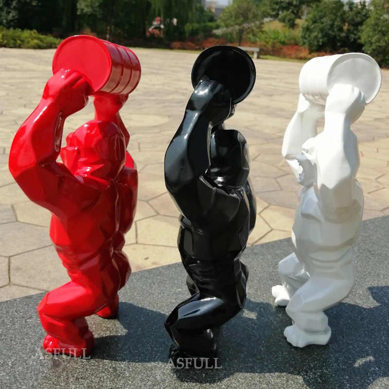ความคิดสร้างสรรค์ Big KINGKONG เรซิ่นรูปปั้น Gorilla หน้าอกรูปของเล่นกล่องสะสมตกแต่งศิลปะหัตถกรรมและจำลองสัตว์ของขวัญ