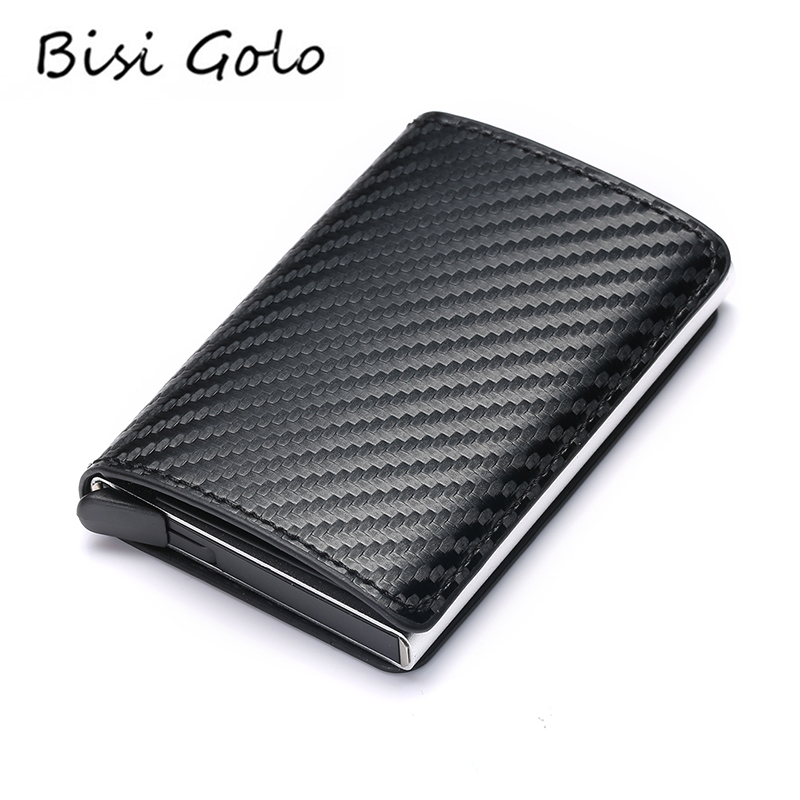BISI GORO 2019 Fashion Credit Card Holder Carbon Fiber Card Holder Aluminum Slim Short Card Holder RFID Blocking Card Wallet