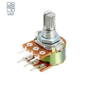 5 шт./лот 1K 5K 10K 50K 100K 500K 1M Ohm 15 мм валовые переменные резисторы двойные линейные 6-контактные роторные конические потенциометры из углеродной пленки