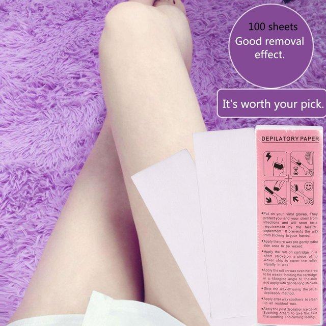 100 pièces/sac professionnel épilation à la cire bandes Non-tissé tissu épilation à la cire papiers dépilatoire outil de beauté pour lélimination des poils de jambe