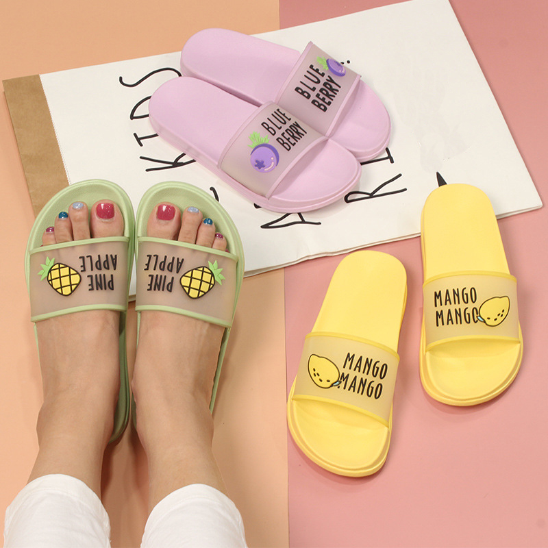Summer Slippers Sandals Flip-Flops Women Shoes Clear Fruit Jelly-Color Transparent Outdoor