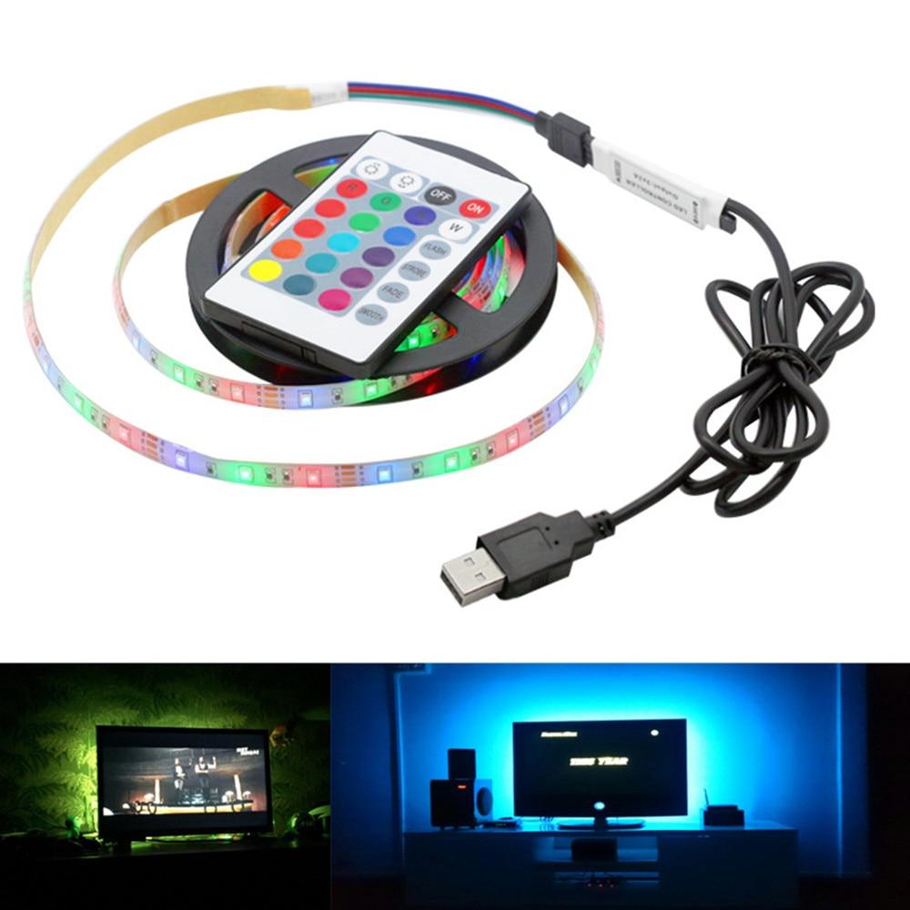 USB LED TV Strip Lamp Waterproof RGB 24Key Flexible Neon LED Light 2835SMD DC5V For Kicthen Cabinet Backlight Lampki LEDS Tape