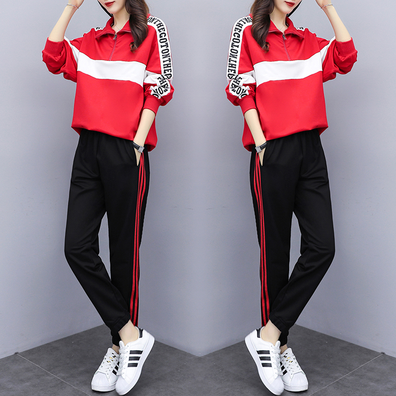 Fashion Long-sleeved Women's Sports Suit 2020 Spring Tracksuit Female Lapel Top+pant Two Piece Outfits Casual