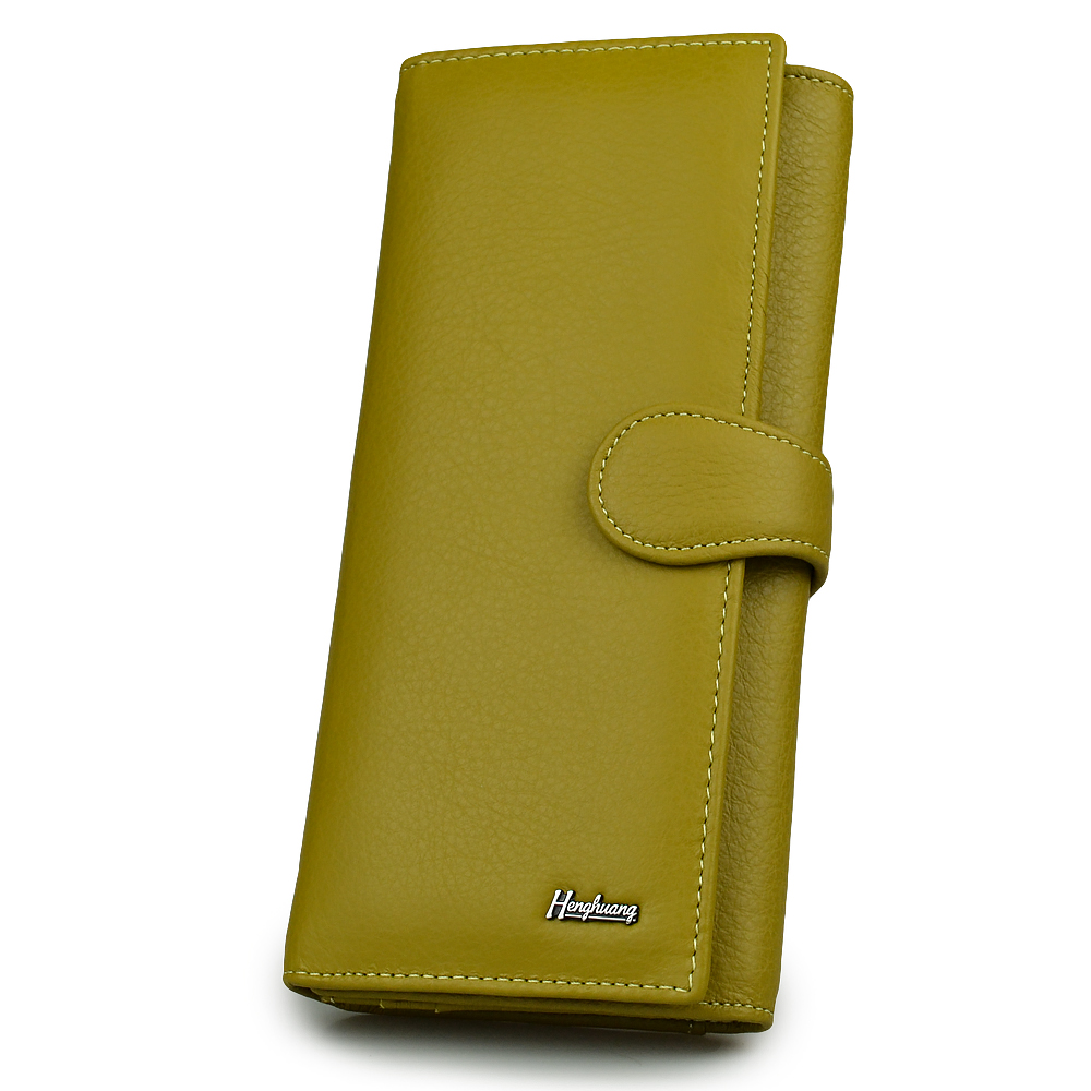 HH 2019 Genuine Leather Women's Wallet Female Clutch Luxury Brand Cowhid Money Bag Zipper Coin Purse ID Card Holder Ladies Purse