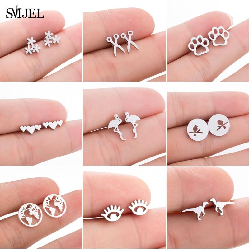 SMJEL Stainless Steel Ballet Stud Earrings for Women Girls Fashion Flower Heart Bird Small Earings Jewelry Pendientes Gifts