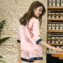 2019 New silk pajamas Ladies summer new product half sleeve shorts two-piece home service sleepwear S074