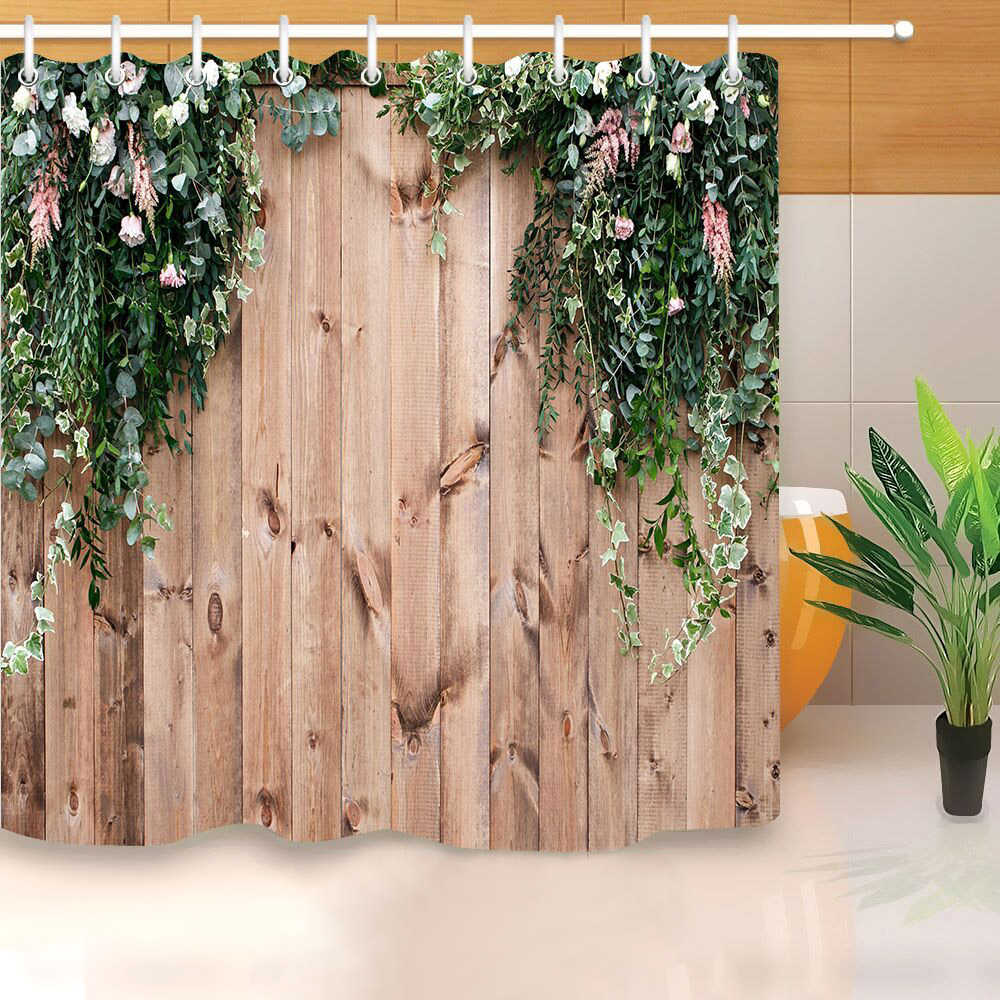 flowers tree leaf rustic wood board shower curtain hooks high quality waterproof polyester bath screens for home decor 180x180cm