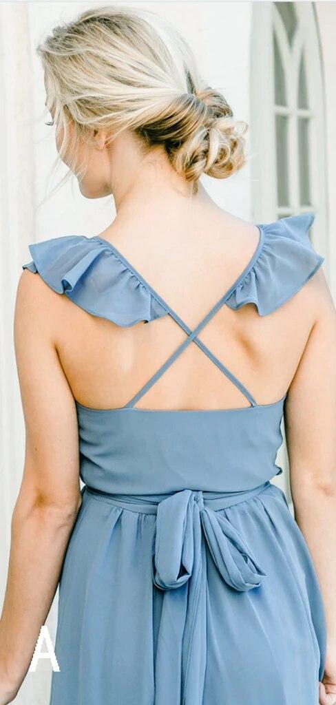 Vestido Madrinha Sky Blue Chiffon A-line Long Bridesmaid Dresses 2020 V-neck Cap Sleeve Wedding Guest Dress Vestido De Festa