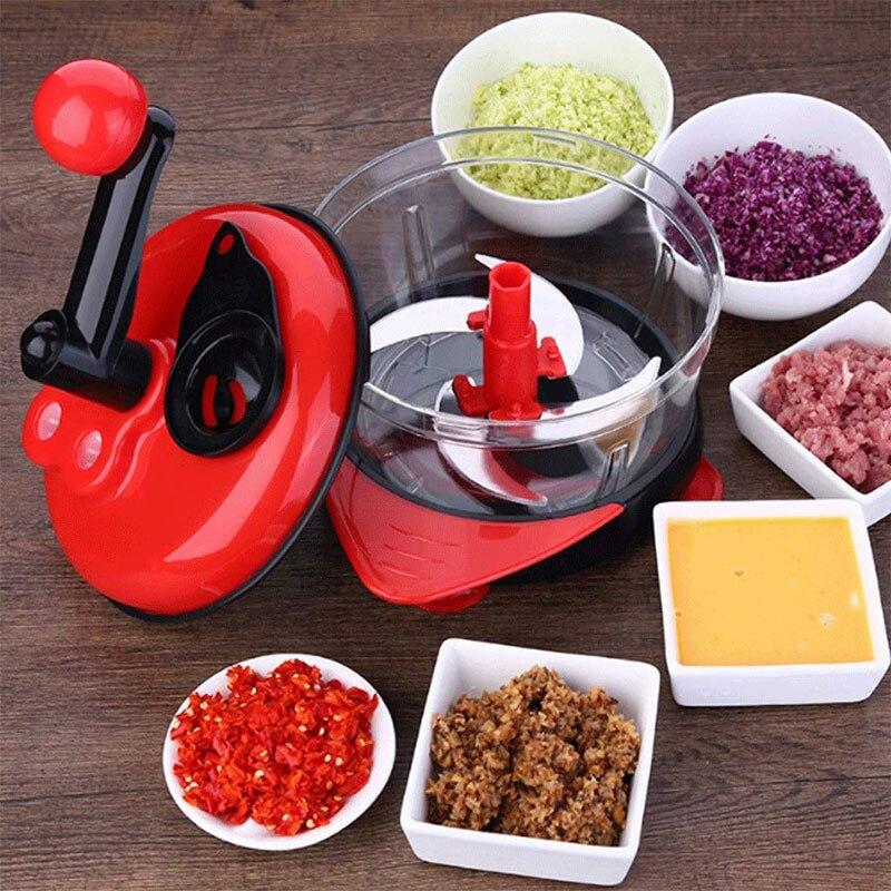 2L Multi-function Vegetable Shredder Manual Food Processor Mixer Egg Blende Cracker Stir Meat Grinder Food Kitchen Machine Cutte