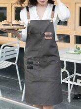 New Fashion Canvas Kitchen Aprons For Woman Men Chef Work Apron For Grill Restaurant Bar Shop Cafes Beauty Nails Studios Uniform