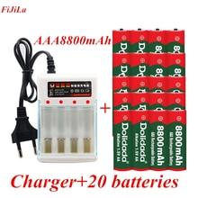 Aaa 1.5 v 8800 mah bateria recarregável aaa 1.5 v 8800 mah recarregável alcalinas drummey + 1 pces 4-pilha carregador de bateria