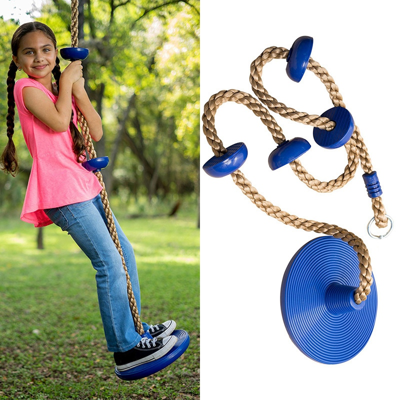 Climbing Rope Swing With Foot Holder Platform And Disc Swing Seat Set For Kids Outdoor Tree Backyard Playground Swing