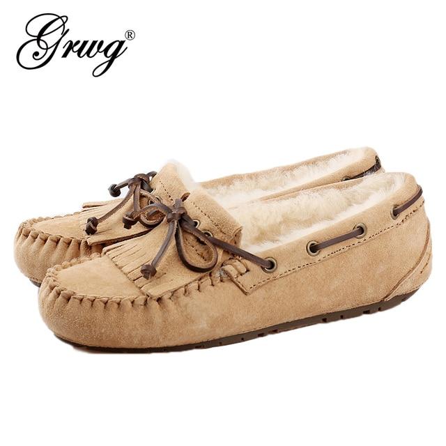 GRWG 100% טבעי פרווה נשים נעלי מוקסינים אמא ופרס רך אמיתי עור פנאי דירות נקבה נהיגה מקרית הנעלה
