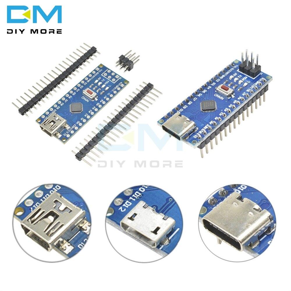 Mini USB/Micro USB/Type-C Adapter CH340 Nano V3.0 ATMEGA328P-MU ATMEGA328 Microcontroller Module Development Board For Arduino