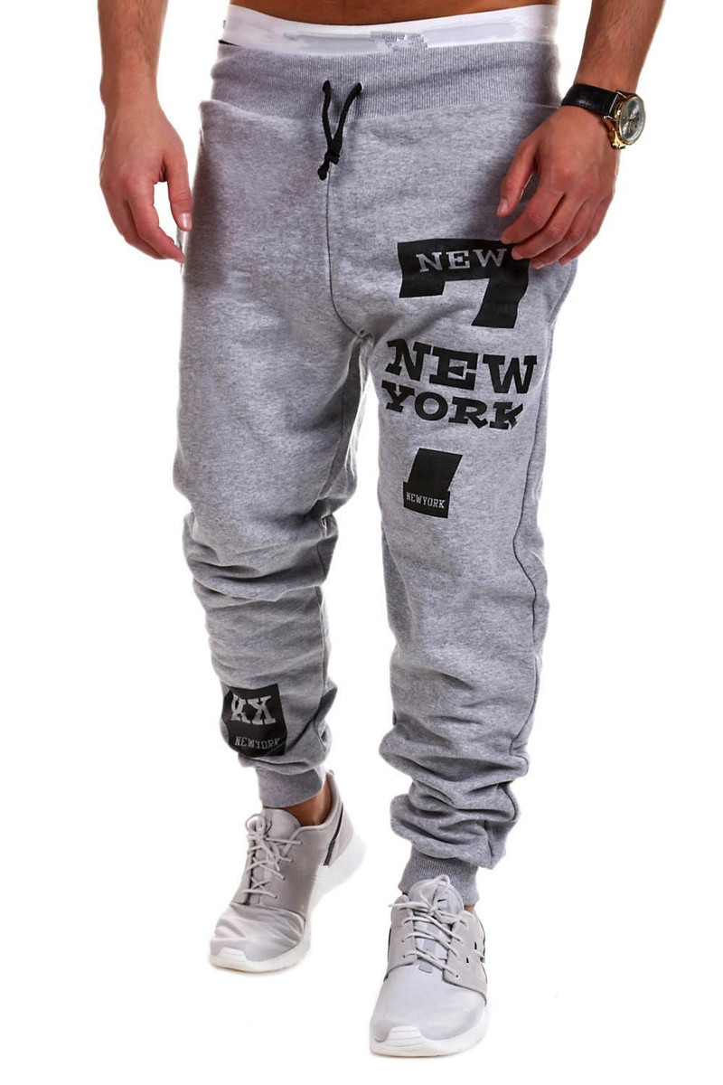 Ouma Digital Print Pants 7 Words New York  Foreign Trade Men's Athletic Pants Men Casual Trousers Harem Pants Fashion