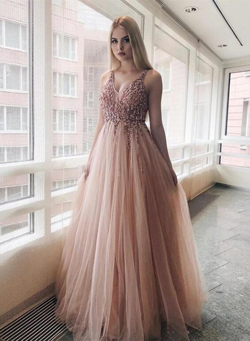 Pink Prom Dress V-Neck Beaded with Rhinestones A-Line Tulle celebrity Formal Evening Gown Party Dress for Graduation Dress