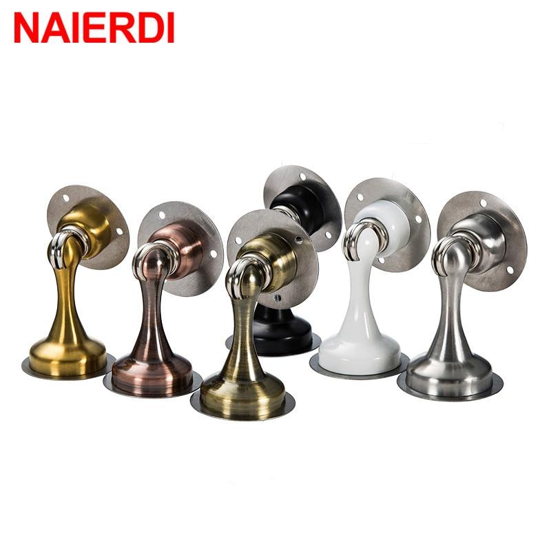 NAIERIDI Non-punch Sticker Door Stop Water-proof Stainless Steel Magnetic Door Stopper Furniture Door Hardware