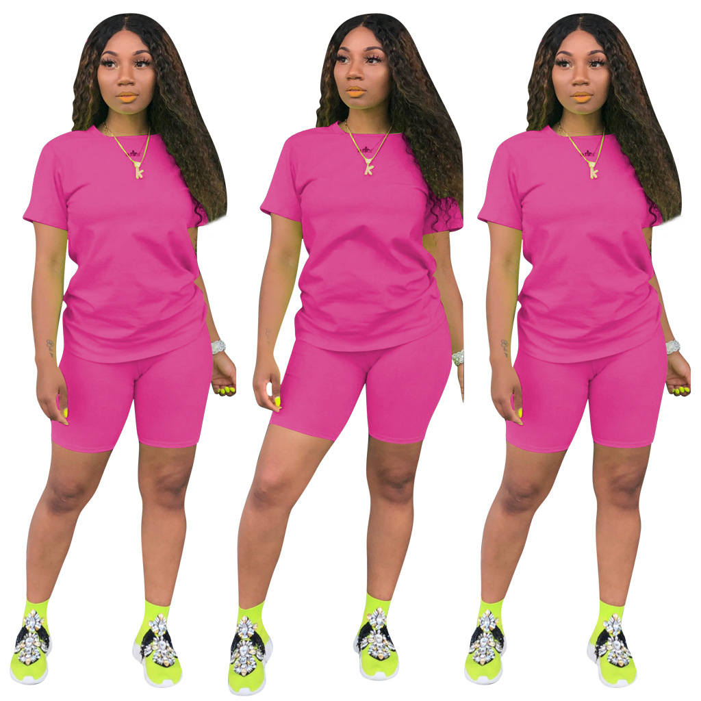 Image 4 - HAOYUAN 2 Piece Set Women Tracksuit Festival Clothing Neon Crop Top and Biker Shorts Sexy Club Outfits Two Piece Matching Sets-in Women's Sets from Women's Clothing