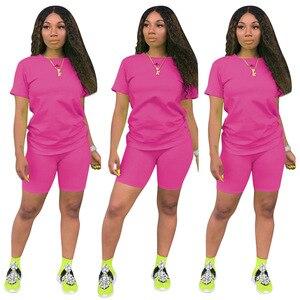 Image 4 - HAOYUAN 2 Stück Set Frauen Trainingsanzug Festival Kleidung Neon Crop Top und Biker Shorts Sexy Club Outfits Zwei Stück Passenden sets