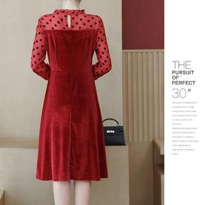 Image 2 - COCOEPPS Big Size Lace Dress Plus Size Autumn Polka dot Mesh Casual vestidos Winter Female Clothes Elegant Party Vestios women