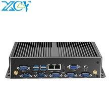 XCY fansız Mini Pc çift Gigabit Ethernet Lan 6 * Com portları Mini bilgisayar Intel Core i5 4200u i7 endüstriyel linux mikro mini pc kutusu