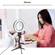 Selfie Ring Light 16cm Photography LED Selfie Light Flash Lighting Dimmable For Makeup Video Live Studio Tripod USB Plug charge(China)