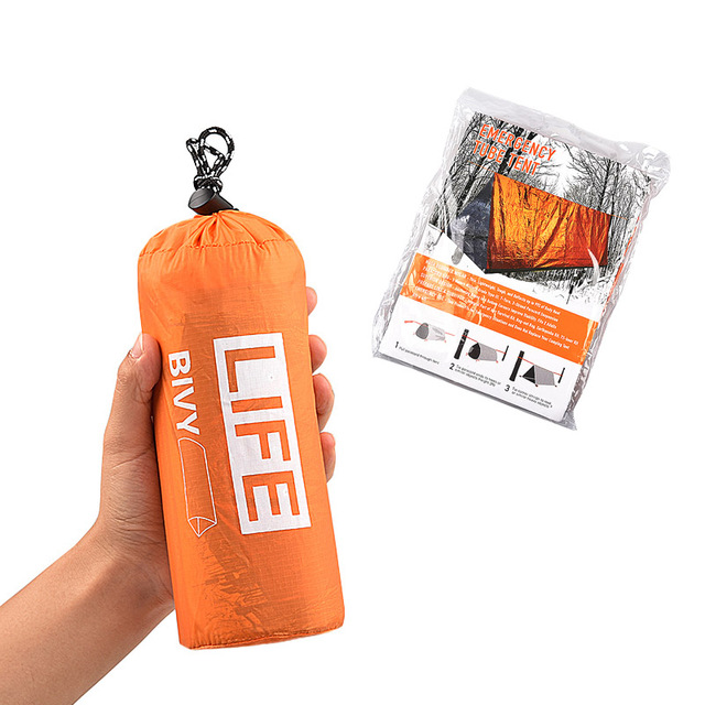 2Person Emergency Shelter Waterproof Thermal Blanket Rescue Survival Kit SOS Sleeping Bag Survival Tube Emergency Tent w Whistle 3