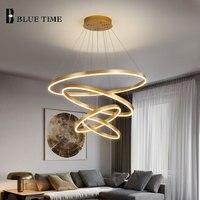 40 60 80 80 60cm 5Rings Led Pendant Light Gold frame Modern Ceiling Pendant Lamp For Living room Dining room Kitchen Hang Lamps