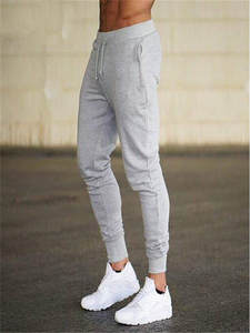 Jogging Pants Trousers Muscle-Gray Fitness Bodybuilding Sport Solid Soft Cotton Men Gym