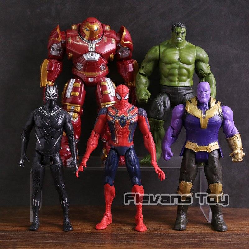 Avengers Infinity War Hulkbuster Hulk Thanos Black Panther Spiderman PVC Action Figure Collectible Model Toy 5pcs/set