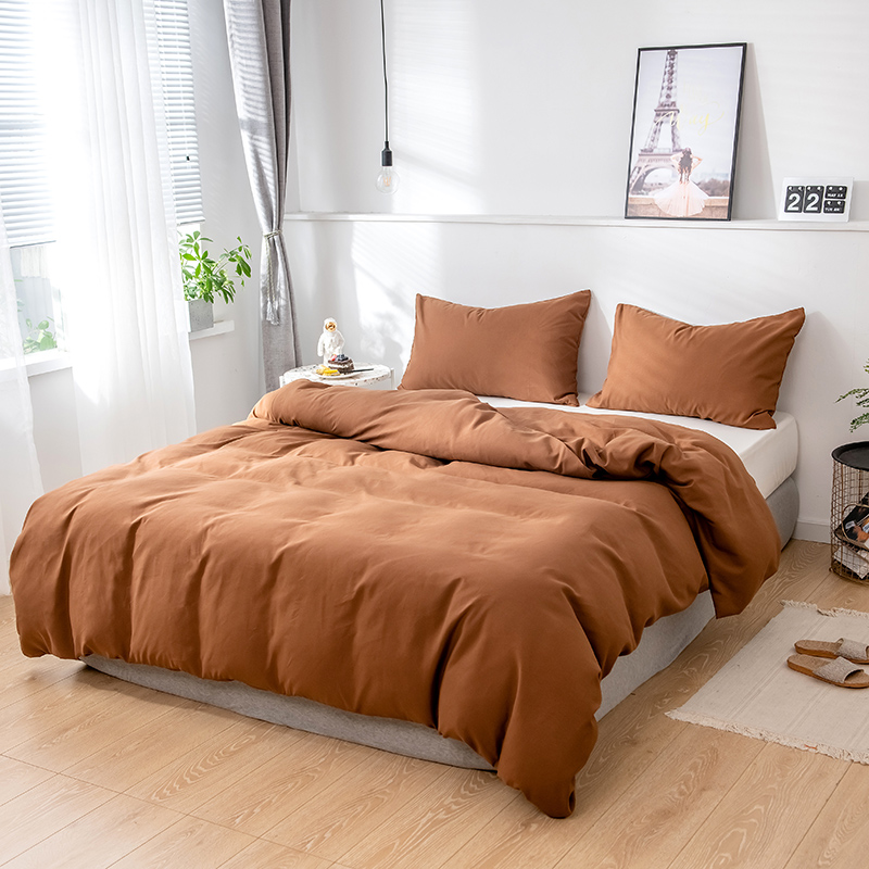 2/3 Piece Nordic High Quality Solid Color Style Twin Size Bedding Set,Duvet Cover220x240 200x200,Use For Bedroom Brown Purple