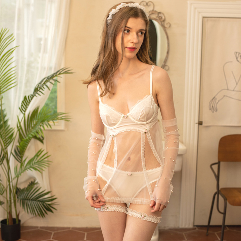 White Lace Stitching Backless Sexy Lingerie Suspender Nightdress Underwear Set Nightgown for Women Female Homewear Sleepwear