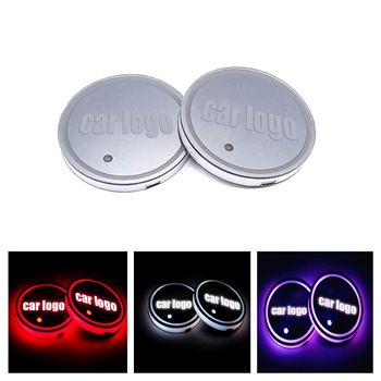 2Pcs LED Car Logo Cup Holder Pads 7 Colors Changing USB Charging Mats Bottle Coasters Car Atmosphere Lamps LED Cup Mat