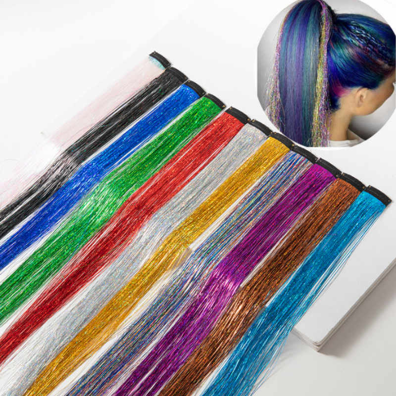 Hair Tinsel StrandsผมสีผมผมGlitter Hair ExtensionsสำหรับBraidsผมDazzle Braidsยืดหยุ่นExtensiones