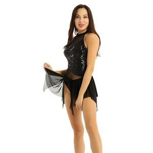 Image 2 - Tiaobug fantasia feminina sem mangas, collantejoulas brilhantes malha irregular emendada figura patinar ginástica collant traje de dança do balé