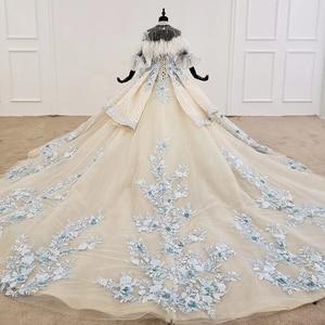 Image 2 - HTL1112 özel renkli lüks düğün elbisesi 2020 Cape tüy yarım kollu aplikler gelin kıyafeti