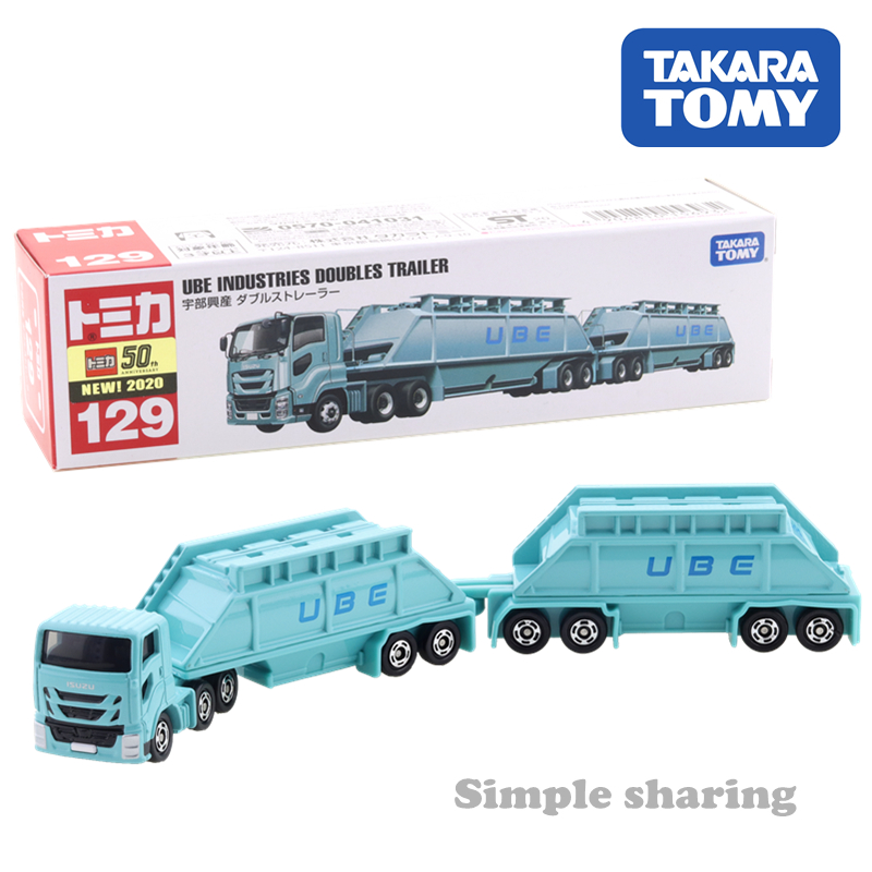 Takara Tomy Tomica Long Type Tomica No.129 Ube Industries Doubles Trailer Koshan Double Strainer Diecast Car Vehicle Model