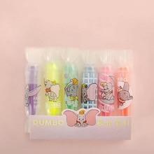 4 шт./набор, милые разноцветные маркеры Dumbo с мультяшным слоном, светящиеся цветные маркеры, канцелярские принадлежности, школьные принадлежности F717