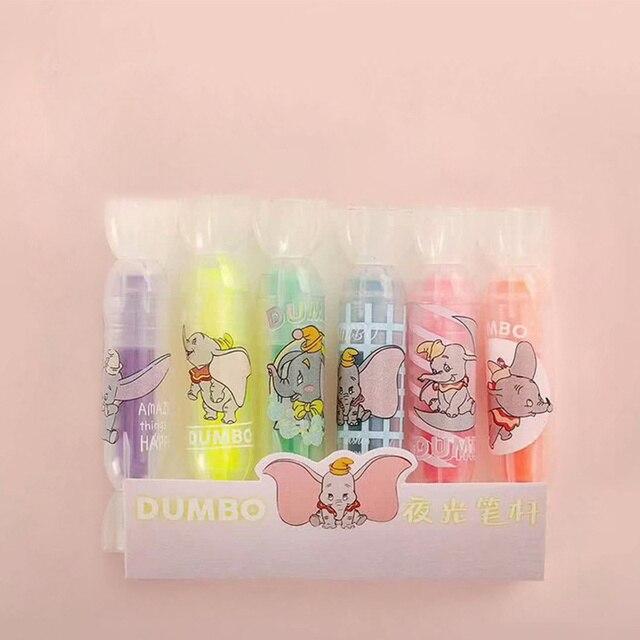 4 ensemble/lot mignon Dumbo couleur surligneur stylo dessin animé éléphant couleurs lumineuses marqueur liner stylos papeterie bureau outil école F717