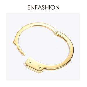 Image 3 - ENFASHION Handcuffs Cuff Bracelet Manchette Gold Color Stainless Steel Punk Bracelets Bangles For Women Fashion Jewelry B192057