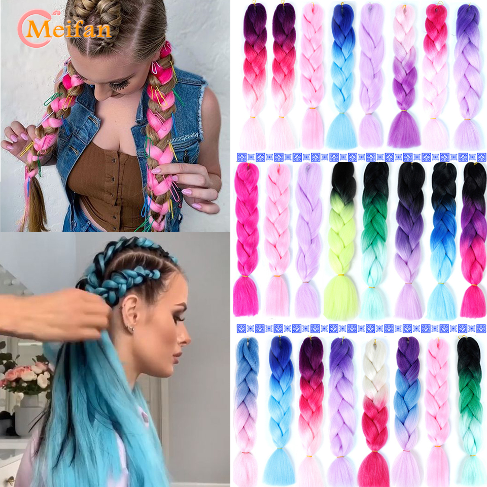 MEIFAN 24 Inches 100g/Pack Ombre Heat Resistant Synthetic Braiding Hair For Crochet Braids False Rainbow Hair Extensions