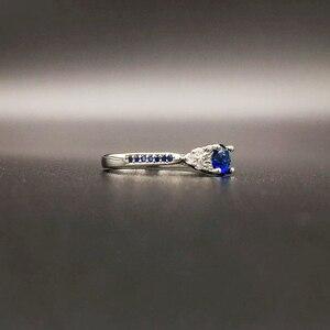Image 2 - Huiseptエレガントなシルバー 925 リングラウンド形状サファイアジルコン宝石ジュエリーの女性リング結婚婚約パーティーギフト卸売