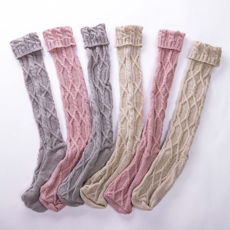 Women Chunky Braided Cable Knit Long Socks Solid Color Roll Down Cuffed Over Knee High Stockings Casual Stretch Winter Warmer