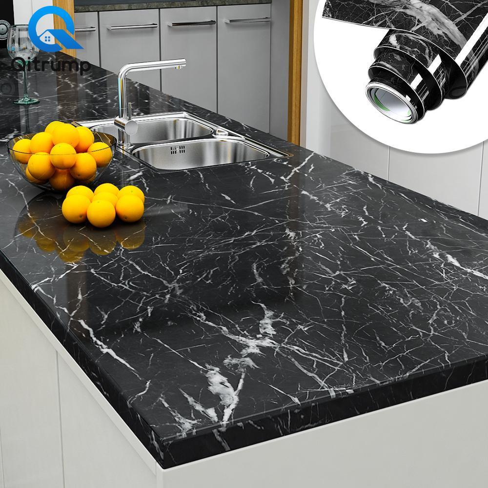 Waterproof Oil-proof Marble Self Adhesive Wallpaper Vinyl Film Wall Stickers Bathroom Bedroom Kitchen Cupboard Home Improvement