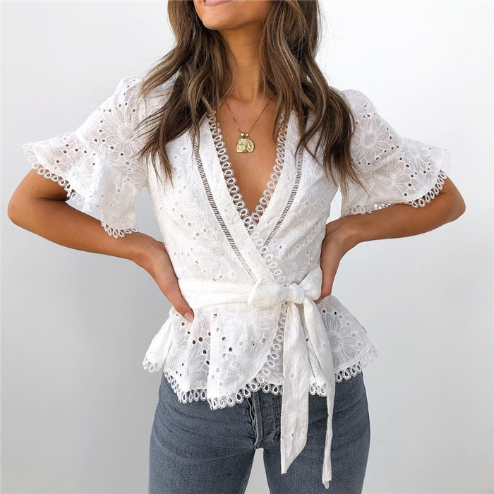 2019 Women Embroidered Openwork Lace Panel Crossbody Lace Shirt Top