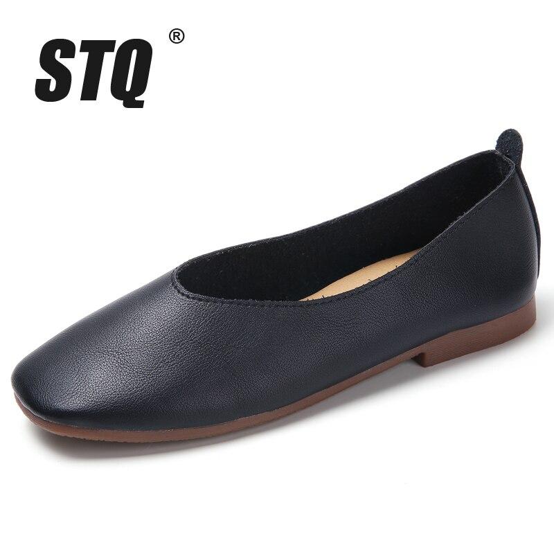 Image 2 - STQ Autumn Women Flats Genuine Leather Shoes Ladies Loafers Slip on Platform Shoes Female Walking Boats Shoes Female YY618Womens Flats   -