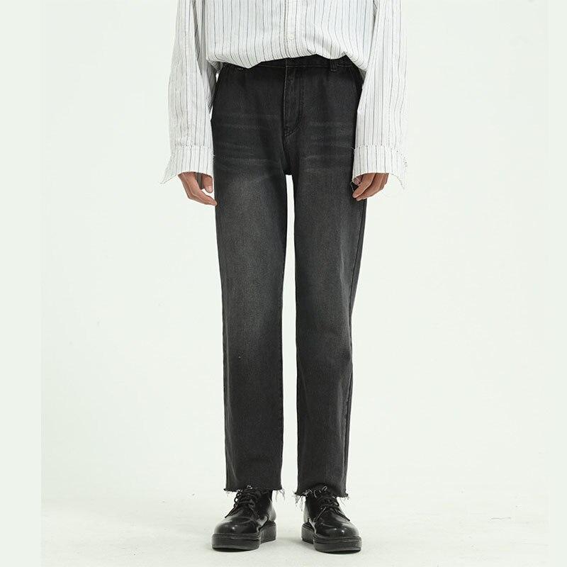 Men Streetwear Hip Hop Gray Casual Jeans Pant Male Japan Korea Style Vintage Straight Denim Trousers Pant