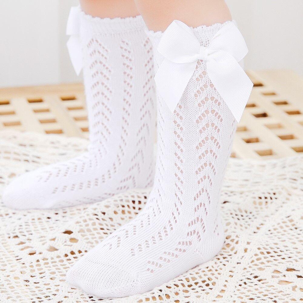 Cute Girls Knee High Socks Bows Cotton Breathable Soft Children Socks Hollow Out Non-slip Newborn Infant Long Socks 0-3Years 3