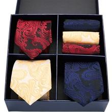 Floral tie set silk tie 3color Red Navy Yellow  Plaid Dot Solid men 7.5 cm tie gift box set men tie & handkerchief GL-12 navy random floral print self tie at sleeves mini dress