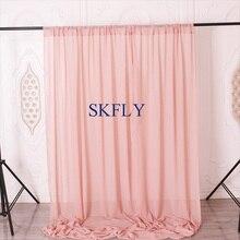 BC003A свадебный день рождения популярный пыльный розовый шифоновый фон для фотосъемки с кармашком для штанги